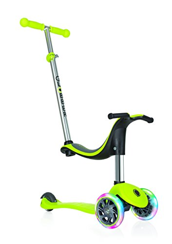 Globber niños de EVO 4-en-1con Light Up Ruedas Scooter, Infantil, EVO 4-in-1 with Light Up Wheels, Lime Green, n/a
