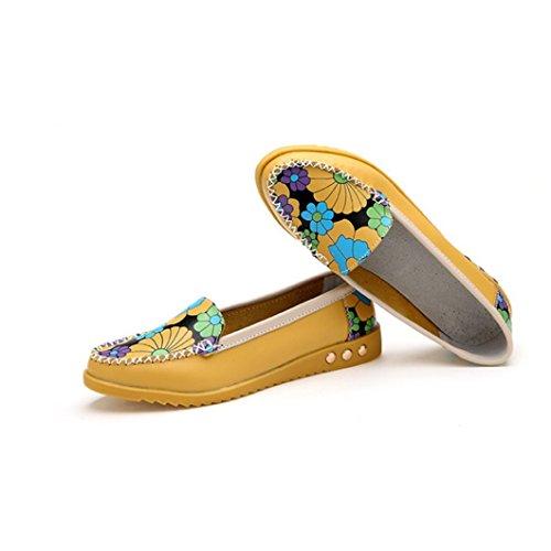 Transer® Damen Mokassins Frühling/Herbst Casual Schuh PU-Leder+Tendon Sandelholz Slipper (Bitte achten Sie auf die Größentabelle. Bitte eine Nummer größer bestellen. Vielen Dank!) Gelb
