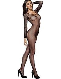 Dreamgirl 0015 Combinaison pour Femme Ouverte à l'Entrejambe Noir Grande Taille 44/50