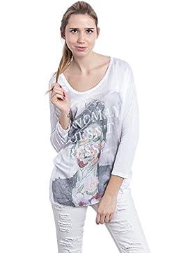 [Sponsorizzato]Abbino 6683 Magliette Tops Ragazze Donne - Made in Italy - 4 Colori - Mezza Stagione Primavera Estate Autunno...