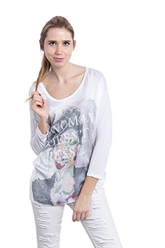 Abbino 6683 T-Shirts Tops Damen - Made in Italy - 4 Farben - Übergang Frühling Sommer Herbst Damenshirts Damentops DamenT-Shirts Lässig Langarm Sexy Sale Freizeit Elegant Muster Viskose Weiss (Art. 6683)