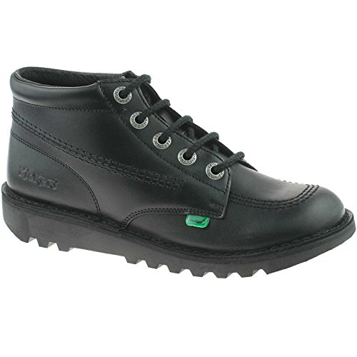 YOUTHS KICKERS KICK HI LEATHER BLACK SCHOOL SHOES KF0000579 SIZE UK 3...