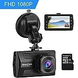 Dashcam Autokamera Shingtak Full HD 1080P Auto Dash Kamera mit 3 Zoll IPS Bildschirm, 6G Objektiv, 170° Weitwinkel, G-Sensor, HDR, Loop-Aufnahme, Bewegungserkennung, Parkmonitor und Nachtsicht (Kingston 16GB SD Karte Enthalten)