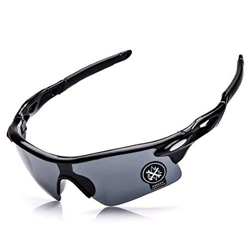 Ndier Gafas de Sol Anti-UV 400, Gafas de Sol Deportivas Viento de Hombres y Mujeres para Bicicleta, Moto, Senderismo Pesca Esquí Running, ECC, Negro