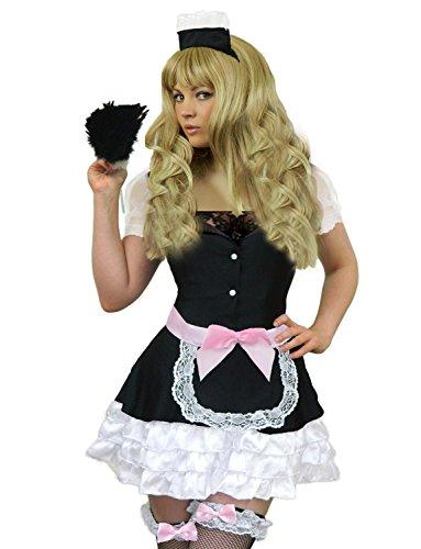 Yummy Bee - Dienstmädchen French-Maid Karneval Fasching Kostüm Damen + Echter Federstaubwedel Größe 36-46 (42-44)