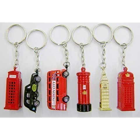 Set of 6 Die Cast Metal London City Keyrings, London Taxi, London Bus, Big Ben, Post Box & Two Telephone Boxes by Giocattoli