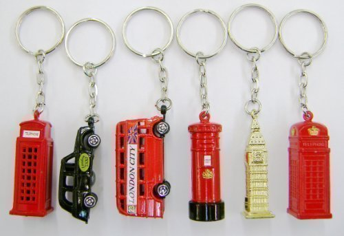 Set of 6 Die Cast Metal London City Keyrings, London Taxi, London Bus, Big Ben, Post Box & Two Telephone Boxes by Giocattoli (Diecast Taxi)