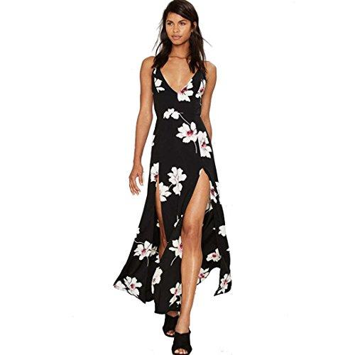 FEITONG mujeres atractivas sin espalda vestido de gasa floral largo del gallus de impresión maxi partido de la tarde (M)