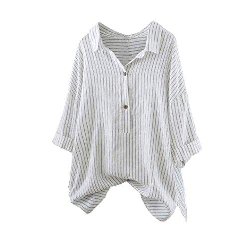 VEMOW Herbst Sommer Elegante Damen Taste hoch Pullover gestreift Lässige tägliche Party Strand Top T-Shirt Plus Size Tunika Bluse(Weiß, 56 DE / 2XL CN) -