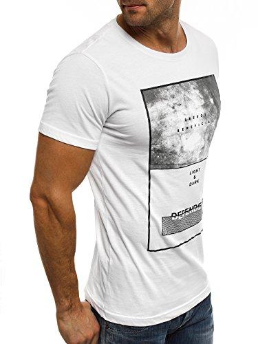 OZONEE Herren T-Shirt mit Motiv Kurzarm Rundhals Figurbetont BREEZY 294 Weiß