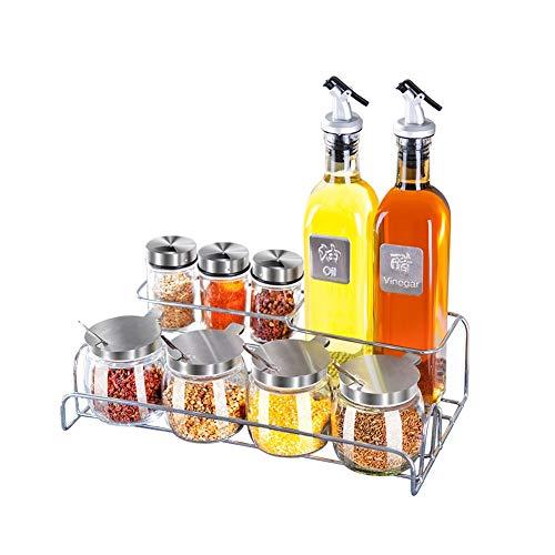 Combinazione di bottigliette per condimenti, adatta per l'etichetta da cucina pentola per olio da cucina x2 + con foro cruet x3 con cucchiaio può x4 + mensola + imbuto + etichetta