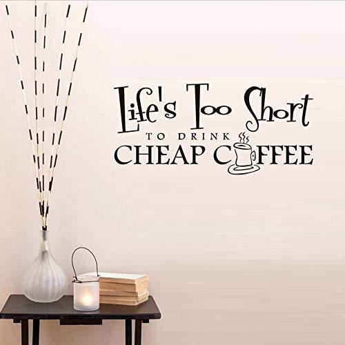 Xzfddn Leben Zu Kurz, Um Eine Tasse Heißen Kaffee Wandaufkleber Für Coffee Shop Zitate Wandtattoo Für Wohnzimmer Home Decor Zu Trinken