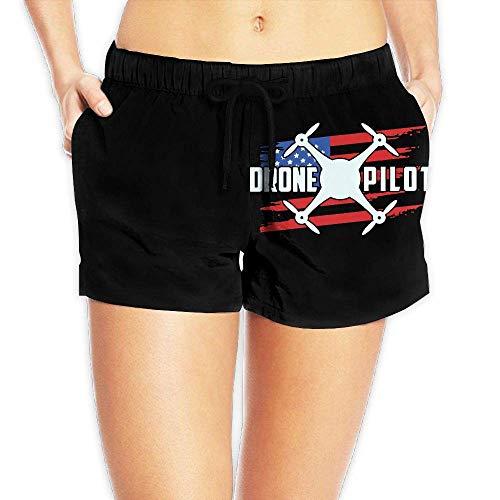 Hwgss Drone Pilot USA Flag2 Women's Lightweight Board/Beach Shorts Surf Yoga Swim Trunks with Pockets(XL) - Oakley Lightweight Shorts