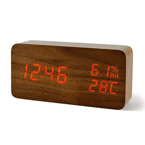 FiBiSonic Reloj Despertador Digital de Madera con Función de Activación por Ruido Indicador de Temperatura y Humedad (MarrónRojo)