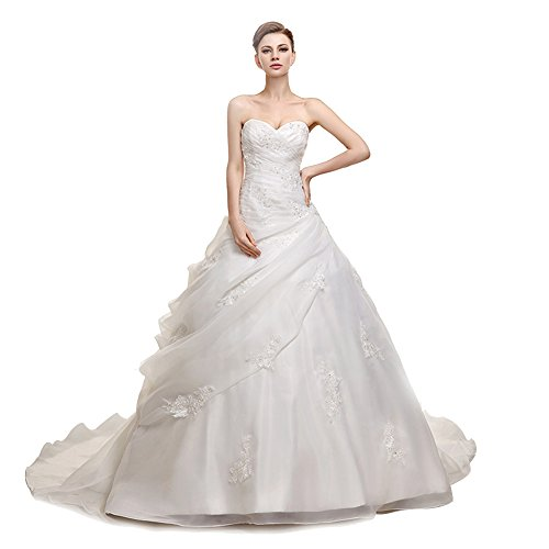 engerla Damen Perlen Sweetheart Applikationen Kapelle Zug Strand Hochzeit Kleid Gr. 44, elfenbeinfarben (Crystal Wedding Bridal Chapel)