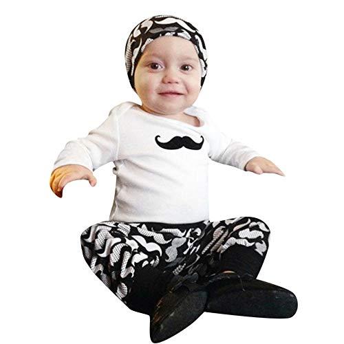 Huihong Neugeborenes Baby Kleidung Set Mädchen & Jungen Langarm Schnurrbart Druck + Hosen + Hut Outfit Sets 3 Pcs Nachtwäsche Kostüm 3-24 Monate (Weiß, 18-24 Monate / 100) (Weiß Schnurrbart Kostüm)