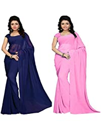 Navanya Couture Women's Chiffon Saree With Un-Stitched Blouse Piece (Baby Pink & Navy Blue)