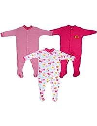 Baby Grow Long Sleeve Cotton Bodysuit Sleep Suit Romper Set of 3