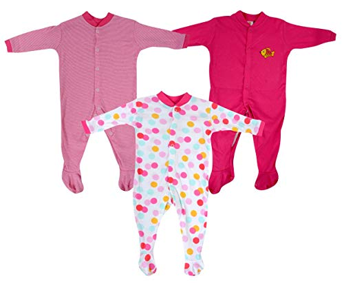 Baby Grow Girl's Mini Berry Long Sleeve Cotton Sleep Suit Romper Set Of 3 ( Pink,6-9 months)
