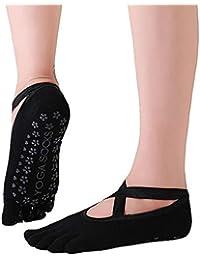 VIWIV Calcetines De Yoga, Calcetines De Algodón Profesionales De Baile Antideslizantes, Adecuados para La Protección del Talón De Ballet Calcetines De Pilates De Yoga para Damas (3 Pares),1