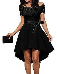 Damen Schulterfreies Kleid Elegant Spitze Cocktailkleid Asymmetrisch Abenkleid Festlich Partykleid