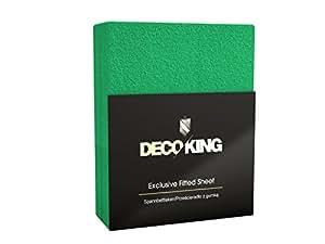 DecoKing 64146 Spannbettlaken für Kinderbett 40 x 100 - 50 x 100 cm Frottee Baumwolle Spannbetttuch, grün
