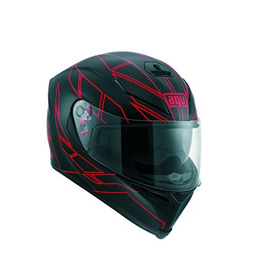 AGV Motorradhelm, Schwarz/Rot Streifen, 10