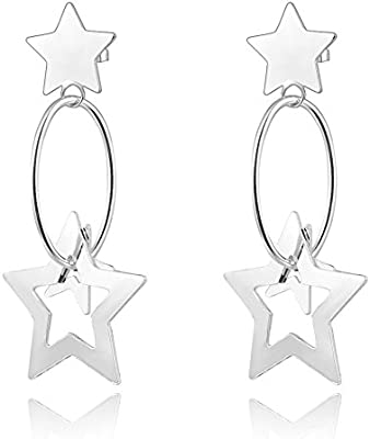 nykkola Fashion Beautiful Jewelry – Pendientes de plata de ley 925 chapado en Hollow Star Colgante Pendientes Largos