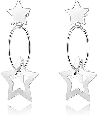 nykkola Fashion Beautiful Jewelry–Pendientes de plata de ley 925chapado en Hollow Star Colgante Pendientes Largos