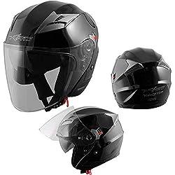 Demi Jet Casque Visière Pare Soleil ECE 22-05 Approuvé Moto Scooter A-Pro Kinetic Noir L