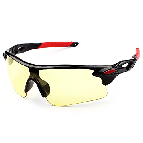 Männer Frauen Sonnenbrille Retro Spiegel Vintage Style Shades Sport Radsportbrille Brille Bright Black Frame Night Vision (Red Feet Sets)