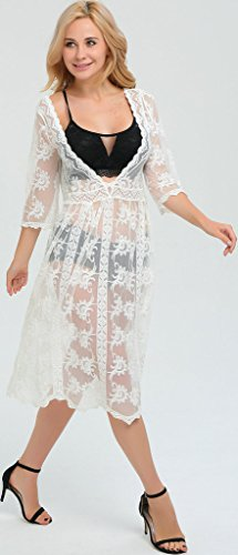 Ababalaya Damen Elegante Transparente Boho Blumen Knielang Weiß Spitze Bikini Cover Up StrandKleid 6367Weiß