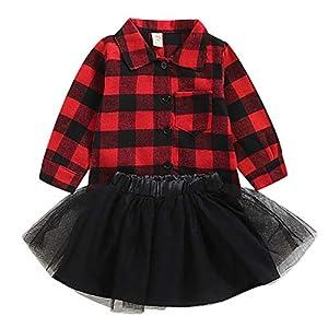 puseky 2 Piezas niños bebé niña Camisa a Cuadros roja + Falda tutú de Malla Conjunto de Trajes de Reno de Navidad 8