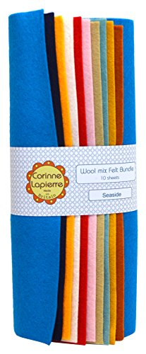 Corinne Lapierre Wool Mix Felt 9 Inch Squares x 10 - Seaside