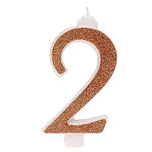 Dekora- Vela de Cumpleaños Numero 2 con Purpurina Dorada (345352)