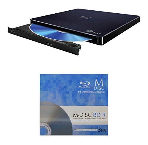 LG 6x wp50nb40Ultra Slim Tragbarer Blu-ray Writer Paket mit 3Pack M-Disc-BD–Unterstützt M-Disc-...