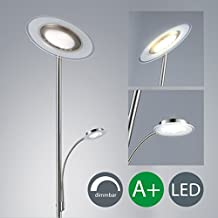 Làmpara de pie LED - Làmpara de pie con foco al techo - Lampara LED de salòn - Con regulador tàctil - luz blanca-calida. - Foco al techo con 21 W de potencia y 2000 lùmenes en color niquel -mate