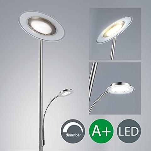 LED Stehlampe dimmbar inkl LED Platine 230V IP20 21W LED Stehleuchte modern Deckenfluter mit Leselampe LED Standleuchte mit Touchschalter warmweiss Metall-Glas matt nickel 2000lm 21 Watt schwenkbar Wohnzimmer