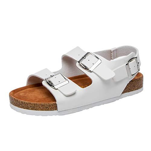 (Yvelands Damen Sandalen Flip Flop Kork Hausschuhe Doppel Schnalle Schuh Strand Anti-Slip Toe Post Sandale(Weiß,39))
