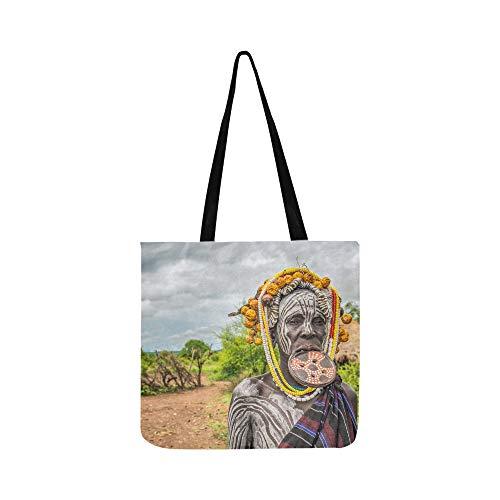Männer tragen traditionelle Kleidung mit Farben auf ihren Gesichtern Leinwand Tote Handtasche Schultertasche Crossbody Taschen Geldbörsen für Männer und Frauen Einkaufstasche