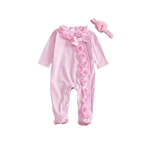 MiyaSudy Neonata Bambina Vestiti Del Bambino Del Outfit Pizzo Pagliaccetto Maniche Lunghe Tutina + Fascia