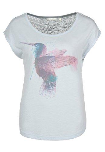 Fresh Made Kolibri Shirt | Damen T-Shirt mit Print im Vintage Style I Frauen Sommer Top Kurzarm mit Rundhals-Ausschnitt Light-Blue XL