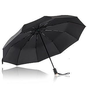 Parapluie Pliant, Bodyguard Parapluie coupe-vent 10 Ribs - Automatique Ouverture et Fermeture - '' Dupont Teflon '' 210T Parapluie Voyage, Ultra Comfort Handle - Durable et élégant (Noir)