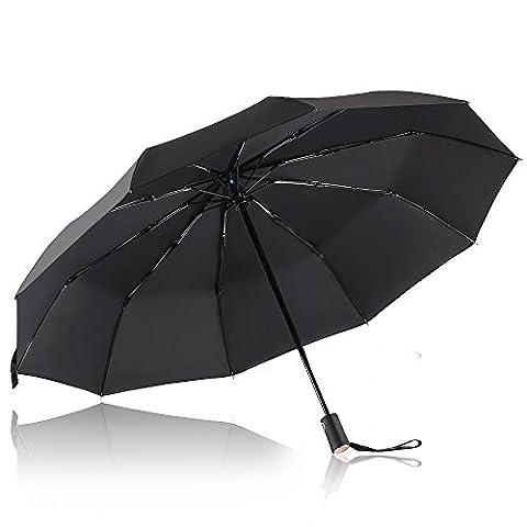 Parapluie Pliant, Bodyguard Parapluie coupe-vent 10 Ribs - Automatique Ouverture et Fermeture - '' Dupont Teflon '' 210T Parapluie Voyage, Ultra Comfort Handle - Durable et élégant