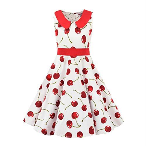 Sanahy Mädchen Aermellos Vintage Kleid Blumendruck Swing Party Kleider Maedchen Audrey Hepburn Stil Kleid Blumen Kleid Tupfen Kleid Polka Dots Faltenrock