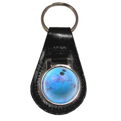 Preisvergleich Produktbild Schlüsselanhänger aus leder mit Blau Bowling Ball Design
