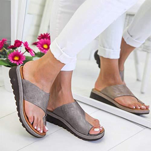 2019 Neu Womens Fashion Flats Open Toe Ankle Beach Shoes Roman Slippers Sandals Mode Retro Damen Big Toe Hallux Valgus Unterstützung Plattform Sandale Schuhe Für Die Behandlung,Schwarz,Grau,Silber -