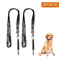 elloLife [Upgraded, 2 PACKS] Dog Whistles to Stop Barking, Professional Ultrasonic Adjustable Dog Whistle, High Pitch Ultra-Soni Recall Sound Training Tool with Premium Quality Lanyard Straps, Black