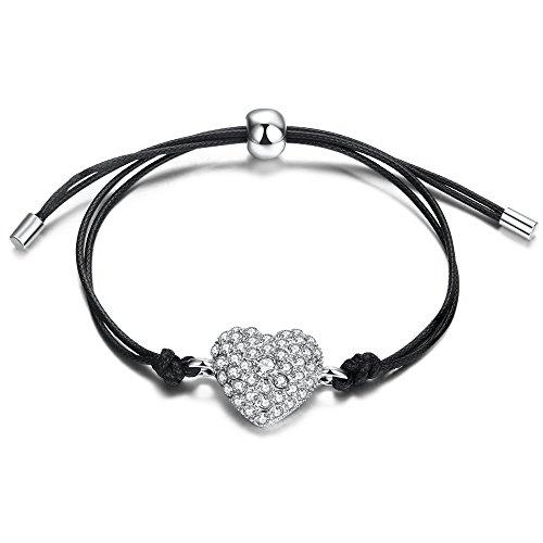 """Auralum Herz-Armband Mädchen Damen 22 cm platiniert Armband mit Herz-Anhänger """"Kristall Herz"""" Schwarz"""