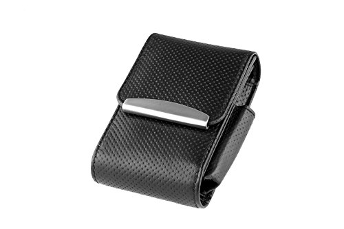 ZIGARETTENBOX LEDER für 20er Zigarettenschachteln bis zu 100er Long Size (Schwarz)